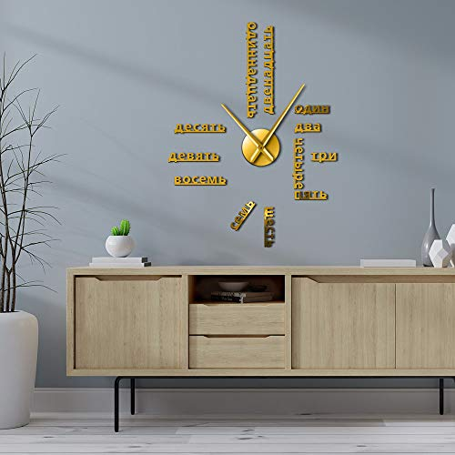 RRBOI Langue étrangère DIY Géant Horloge Murale Numéros Grande Horloge Montre Bébé Chambre Préscolaire Décoration Montre (Golden)-47inch