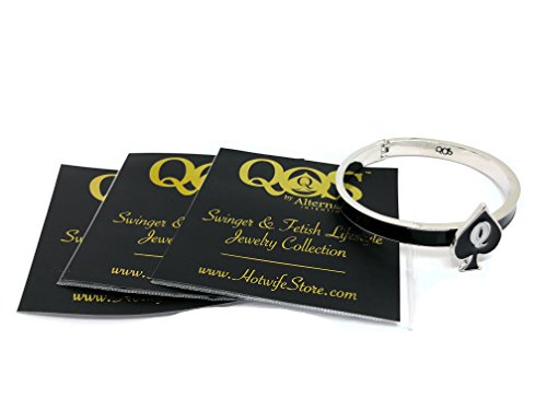 Alternative Intentions QOS (Queen of Spades) Branded Charm Cuff Hinge Bangle Bracelet (Silver)