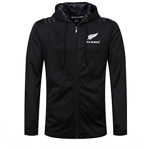 2019 Coppa del Mondo Tutto Nero,Rugby Jersey Allenamento New Zealand Maglia da Rugby Calcio Felpa A Maniche Lunghe con Cappello, all Black (Size : XXL)