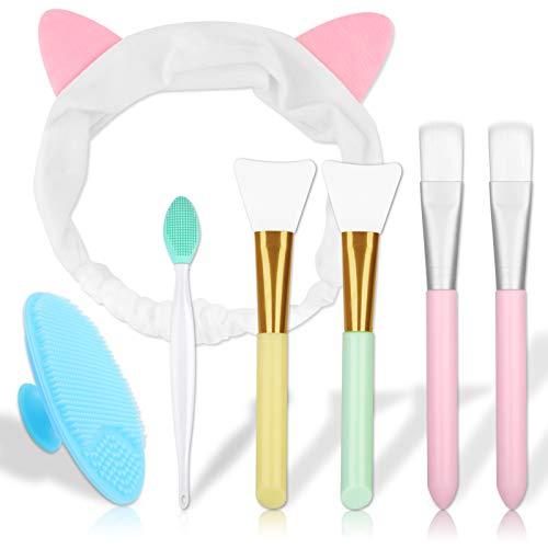 Masken Pinsel, 7 Stück Maskenpinsel Silikon mit Gesichtsmaskenbürsten mit Weichen Borsten Doppelseitiger Lippenbürste Silikon Manuelle Gesichtsreinigungsbürsten und Haarband für Masken / Gesichtsmaske