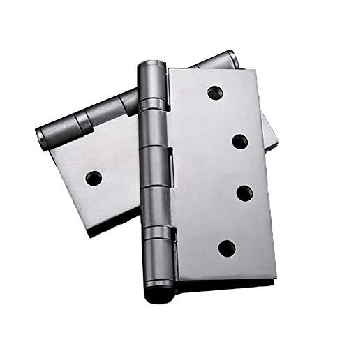 JTRHD Bisagras a Tope Plegables 4 Piezas de 4 Pulgadas (103 mm) Rodamiento silencioso Bola Bisagras Cepillado Puerta con 32 Piezas de Tornillos para Ventana, gabinetes, Armario