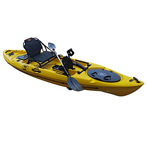 BKC PK12 Angler 12' Solo Sit-On-Top Fishing Kayak, Propeller-Drive w/Instant Reverse Pedal Drive, Rudder System, Paddle, and Upright Aluminum Frame Backrest Support Seat -  Brooklyn Kayak Company, PK12_Yellow