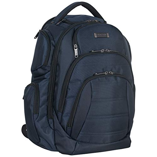 "Kenneth Cole Reaction 1680d Polyester Double Gusset 17.0"" Laptop Backpack, Navy, One Size"
