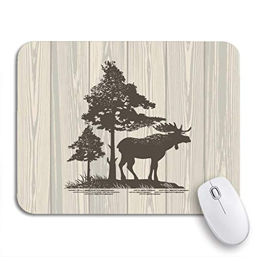 Gaming Mouse Pad Animal Moose on Wooden Fauna Herbivores Maine Wildlife Nonslip Rubber Backing Mousepad for Notebooks Computers Mouse Mats