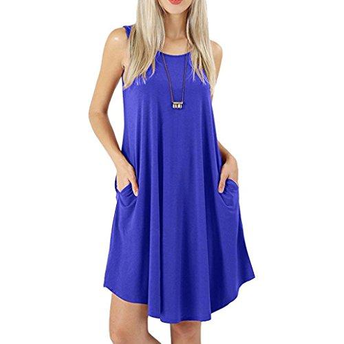 ESAILQ Damen V Ausschnitt A-Linie Kleid Träger Rückenfreies Kleider Sommerkleider Strandkleider Knielang(S,Blau)