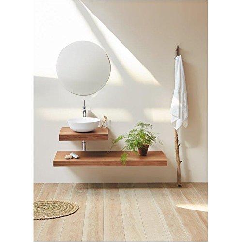Plan vasque suspendu ZERO pour salle de bain design, noyer 45 cm