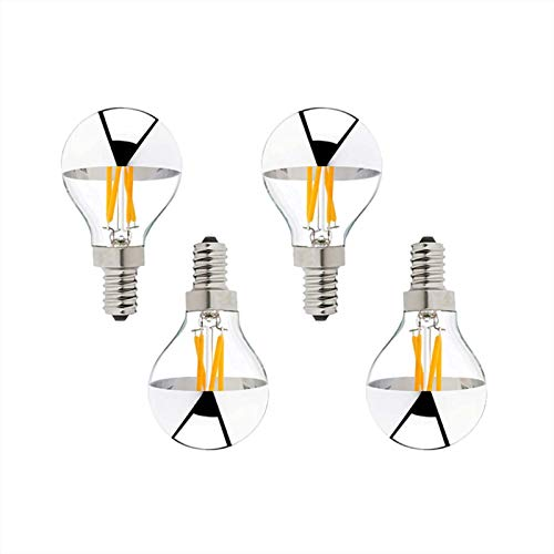 G45 4w LED Filament Bulb, Bowl-shaped Silver Mirror Half Chrome LED Bulb, Dimmable Warm White E14 Retro Edison Bulb, 220v Perfect For Downward Facing Light Fixtures, 4 Pack