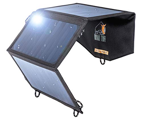 Ryno-Tuff Portable Solar Charger for Camping - 21W Foldable Solar Panel Charger 2 USB Ports - Waterproof & Durable, Compatible with iPhone, iPad, Galaxy, LG, Nexus, Battery Packs, All USB Devices