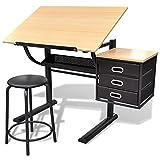 vidaXL Escritorio Inclinable Tablero y Taburete Mueble Oficina Mesa de...
