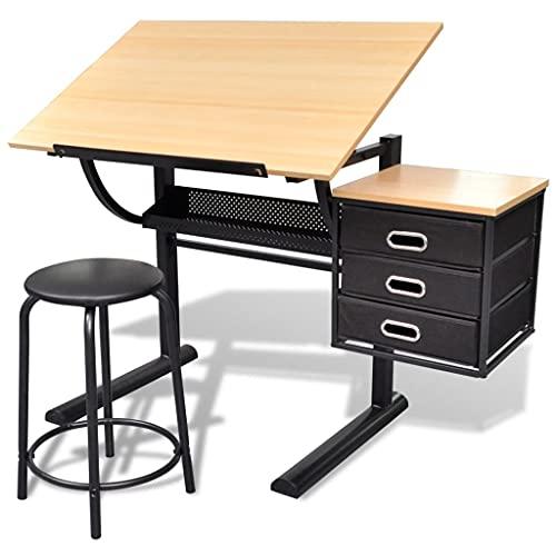 vidaXL Table à Dessin Inclinable et Tabouret Table de Travail Table d'artiste