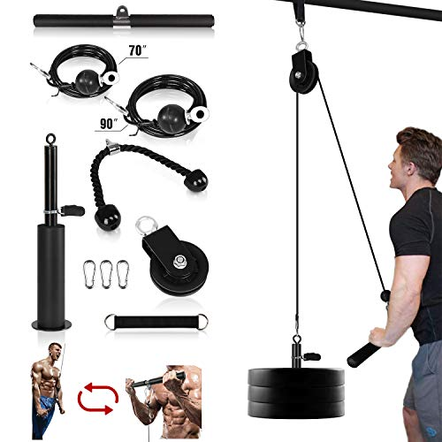 Mikolo Fitness LAT and Lift Pulley System, Dual Cable Machine(70'' and 90'') with Upgraded Loading Pin for Triceps Pull Down, Biceps Curl, Back, Forearm, Shoulder-Home Gym Equipment(Patent)