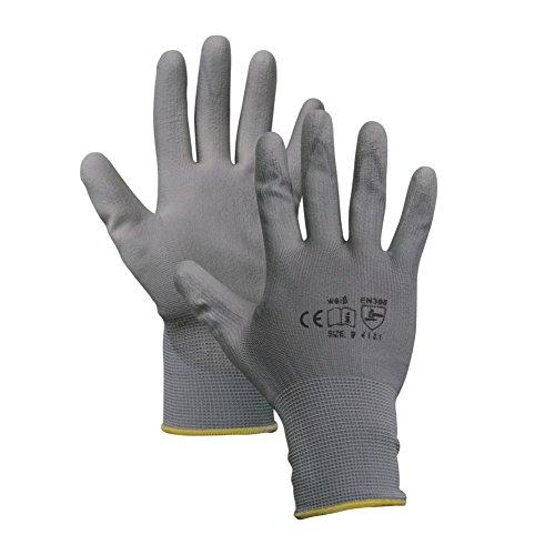 Montagehandschuhe - 12 Paar - Arbeitshandschuhe - Farbe: grau - 10 (XL)