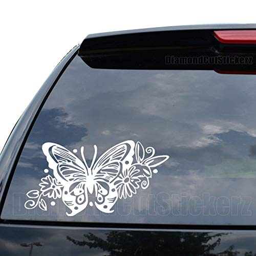 Butterfly Tribal Art Insect Wings Decal Sticker Car Truck Motorcycle Window Ipad Laptop Wall Decor - Size (07 inch / 18 cm Wide) - Color (Gloss White)