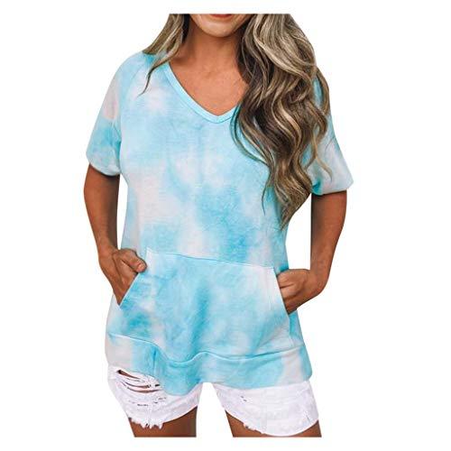 Frauen Bluse Tie-Dye Druck V-Ausschnitt Hübsche Crop Tops Mode Casual Kurze T-Shirts(Blau,M)
