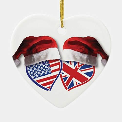onepicebest Christmas Ornaments 2020, Christmas USA and UK Flag Hearts with Santa Hats Ceramic Ornament, Decorating Hanging Ornaments Christmas Party Decor Xmas Gift, Heart Shape
