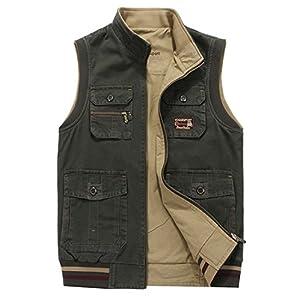 Men's Reversible Outdoor Pockets Fishing Safari Travel Vest Jacket