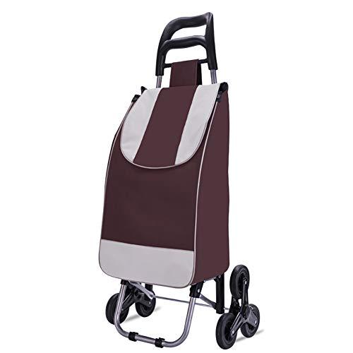 Acyon Einkaufstrolley - 40 Liter - Extra große Reifen - Abnehmbare & regenfeste Tasche - Aufhängung für den Einkaufswagen/Klappbarer Shopper/Einkaufsroller/Handwagen,Braun