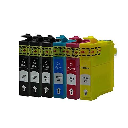 ZYL - Cartuchos de tinta compatibles con Epson T1285 Stylus S22 SX125 SX130 SX230 SX235W SX420W SX425W SX430W SX435W SX438W SX440W SX445W SX445WE Office BX305F BX305FW BX305FW Plus (6 unidades + 2 unidades), color negro