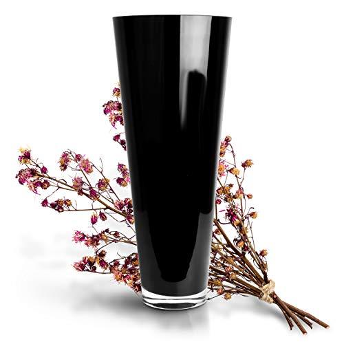 Glaskönig Bodenvase groß schwarz 43cm hoch Ø 17,5cm - Große Bodenvase, ideal als Vase für Pampasgras und eine schöne Vasen Deko - Moderne Deko Vase zeitlos und elegant