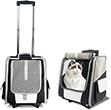Companet Puppy & Kitty Backpack Carrier with Wheels, Rolling Pet Carrier Backpack, Cat Dog Carrier for Airplane Travel