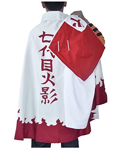 DAZCOS US Size Adult Anime Costume 7th Uzumaki Cosplay Costume with Cloak Hat (Small) Orange