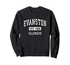 This classic established Evanston Illinois shirt features a traditional distressed athletic design that is perfect to show your hometown pride. Makes a great gift for those who love & are proud to be from Evanston IL. Vintage Evanston Illinois IL shi...