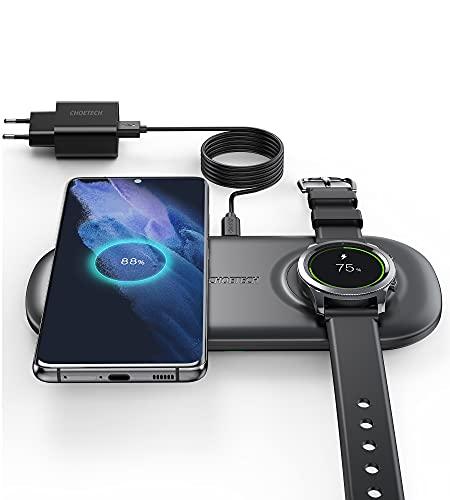 CHOETECH Cargador Inalambrico Samsung Watch, Wireless Charger 2 en 1 con Adaptador, 10W Galaxy S20/S20+/S10/S9/Note 20/10, 7.5W para iPhone 12/12 Pro/11/11Pro/X/XR/8, Galaxy Watch Active/Gear Sport/S3