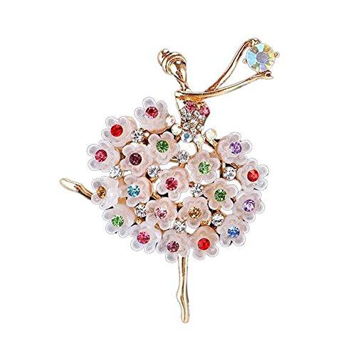 TOOGOO Broche de Cristal de Lujo alfiler de bailarin Bailarinas Regalo de Chica Mujer Plateado aleacion Flor Colorida