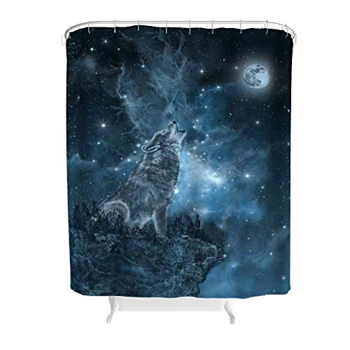 RQPPY 100prozent Polyester Mond Wolf Duschvorhang Anti-Bakteriell Wasserabweisender Stoff Badezimmer Dekorationen White 150x200cm