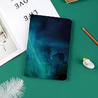 IPad Pro 11 ケース 2018新モデル対応 二つ折スタンド保護ケース iPad Pro 11インチ 専用カバー オートスリープ機能付き 手帳型 タブレットカバー死んだゴーストスカル神秘的なお化けホラーをテーマにしたゴシック暗い背景
