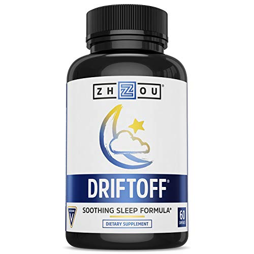 Zhou Drift Off Premium Sleep Aid with Valerian Root & Melatonin | Sleep Well, Wake Refreshed | 30 Servings, 60 Veggie Caps