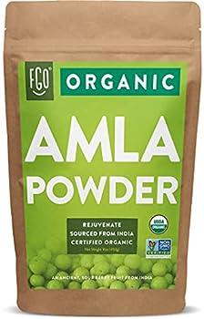 Organic Amla Powder  Amalaki  | 16oz Resealable Kraft Bag  1lb  | 100% Raw From India | by FGO