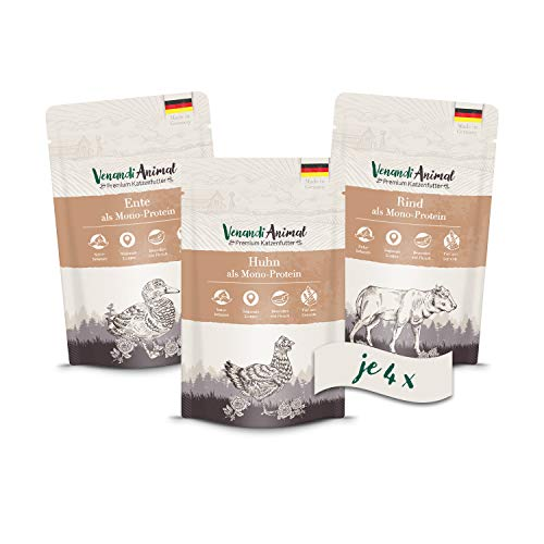 Venandi Animal Premium Nassfutter für Katzen, Probierpaket I, Huhn, Ente, Rind, 12 x 125 g, getreidefrei und naturbelassen, 1.5 kg