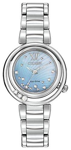 Citizen L Sunrise Diamant Damen Quarzuhr mit Mutter von Pearl Zifferblatt Analog-Anzeige und Silber Edelstahl Armband em0320–59D