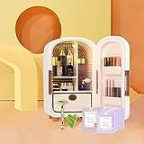 4YANG Mini Nevera, 12 litros portátil de Belleza, Maquillaje, Cuidado de la Piel, refrigerador, 5 Grandes Espacios de Almacenamiento Calentador para Dormitorio, Oficina, Coche, Dormitorio