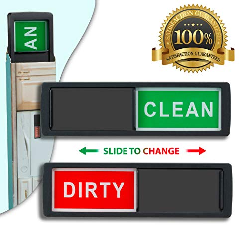 Clean Dirty Dishwasher Magnet - Non-Scratch Magnetic Signage Indicator for Kitchen Dishes with Clear, Bold & Colored Text - Easy to Read & Slide for Changing Signs (Black)