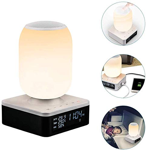 ZGYQGOO Drahtloser intelligenter Lautsprecher Tragbarer Touch-Lautsprecher 4.1 Bluetooth-Wecker mit bunten Lichtern Nachttischuhr Freisprechanruf Ton und Licht Snooze Fast Charging, B