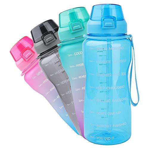 Azebo Botella de agua grande de 3800 ml/2000 ml/1600 ml, con marcador de tiempo y colador extraíble, Tritan, sin BPA, no tóxico, para deportes de fitness al aire libre y en la oficina E3SHD004-Blue-2L