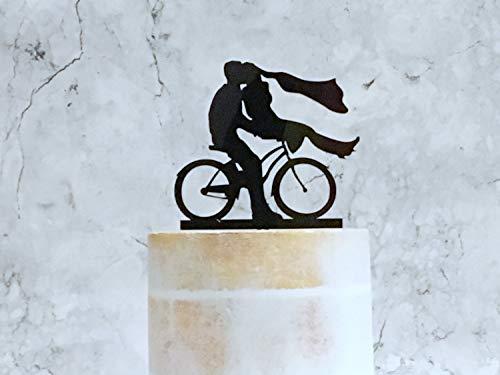 Decoración para tarta de novio y novia, decoración para tarta de boda, decoración para tarta de ciclismo, decoración para tarta de novia y novio en bicicleta