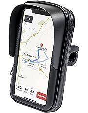 FM24 Soporte de teléfono móvil para motocicleta o bicicleta, con parasol vertical para smartphone, teléfono móvil, navegador GPS hasta máx. 160 x 90 mm
