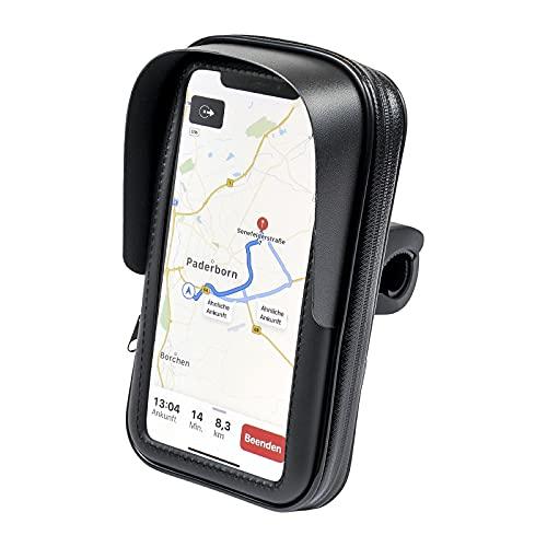 FM24 Motorrad Fahrrad Handyhalterung Tasche Hülle mit vertikalem Sonnendach für Smartphone Handy Navi GPS bis max. 160 x 90 mm