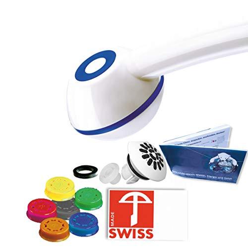 Duschkopf SwissClima MARINA FEARLESS: Wasser-+ Kostensparen f. Experimentierfreudige: 3-11 l/min (statt 13-25l), kräftiger Strahl, Regenstrahlaufsatz, 6 Regler f.7 Literleistungen, SwissMade)