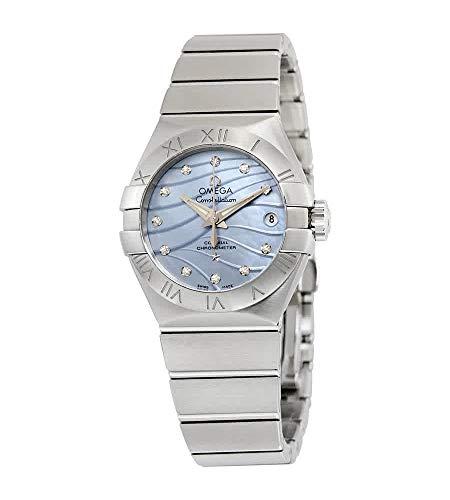 Omega Constellation Co-Axial Blue Madre de Pearl Diamond Dial Reloj de señoras 123.10.27.20.57.001