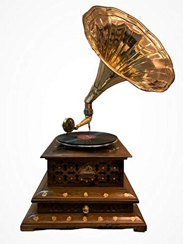 Global Art World Vintage His Master Voice Wooden Art Décor HMV Turntable Antique Machine Musical Box The Gramophone Co. Draw Phonograph A1BG 016