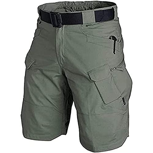TFCK Pantalones Cortos Tácticos Urbanos/para Exteriores Hombres, Tácticos Impermeables Mejorados, Pantalones tácticos mejorados Transpirables Secado rápido Hombres 5XL Ejército Verde