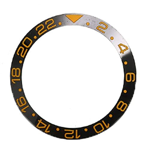QWXX Bisel 38 mm Cerámica Bezel Reloj Face Bezel Insert Insert Fit 40mm Movimiento automático Movimiento Reloj Accesorios de Reemplazo Múltiples Estilos Azul Negro Exquisito (Color : Black Gold)