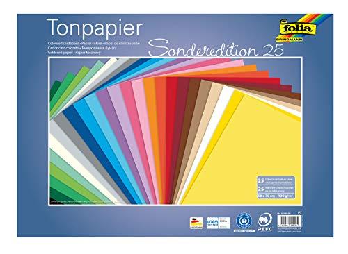 folia 67/25 99 - Tonpapier Mix, ca. 50 x 70 cm, 130 g/m², 25 Blatt sortiert in 25 Farben, zum Basteln und kreativen Gestalten von Karten, Fensterbildern und für Scrapbooking