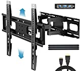 Everstone TV Wall Mount for Most 32'-65' TVs Heavy Duty Dual Arm Articulating Full Motion Tilt Swivel 14' Extension Bracket,LED,LCD,OLED,Plasma,Flat Screen,Curved TV,Up to VESA 400mm,Height Adjustable