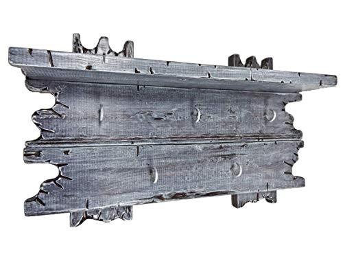 Schlüsselbrett/Minigarderobe grau passend zur Garderobe mit 5 Metallhaken aus Echtholz SHaBBy CHic ViNTaGe Holz (alternativ: Keyholder, Gaderobe, Gardrobe)