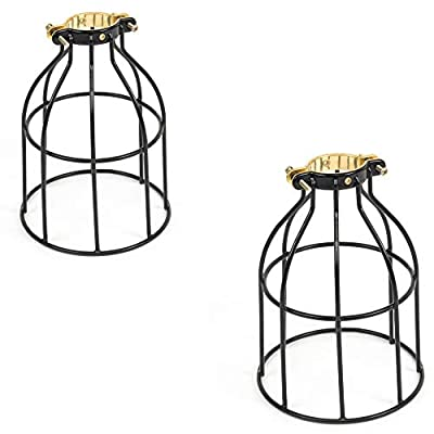 ArtifactDesign Set of 2 Industrial Vintage Style Curved Top Light Cage for Pendant Light Lamps ...